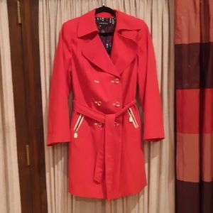 Red plus sized double breasted jacket